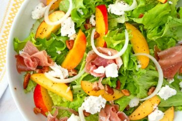 peach prosciutto and goat cheese salad summer salad
