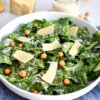 healthy caesar salad with chickpea croutons