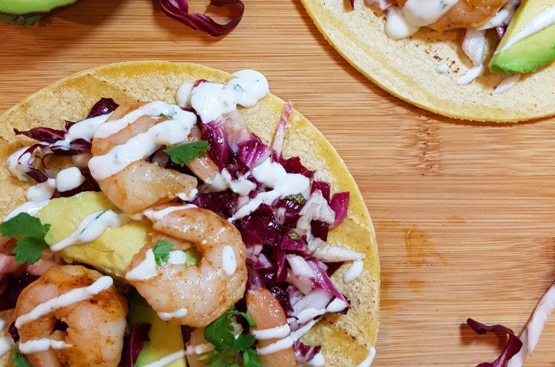 Chili Lime Shrimp Tacos with Radicchio Slaw