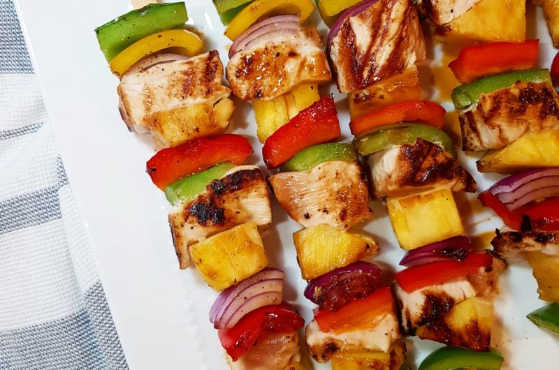 Hawaiian Chicken Skewers with Honey-Soy Glaze