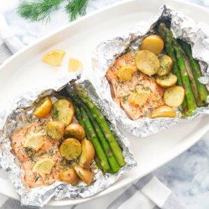 salmon parcels asparagus potatoes