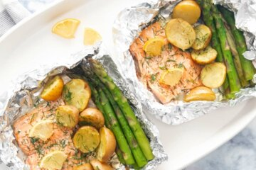 salmon parcels asparagus potatoes