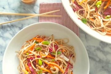 soba noodle salad with honey sesame dressing