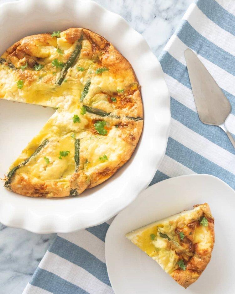squash blosson and asparagus crustless quiche