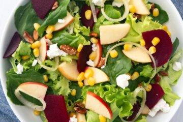 apple, beet and corn salad with maple apple cider vinaigrette