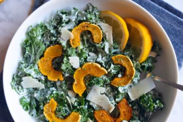 kale caesar salad with roasted delicata squash