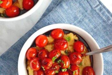 creamy cheesy polenta with balsamic cherry tomatoes