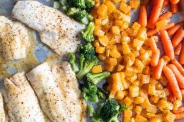sheet pan honey mustard haddock and roasted vegetables one pan fish dinner
