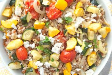 mediterranean grain salad with roasted summer vegetables