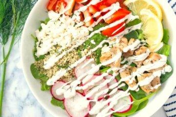 greek summer salad with greek yogurt dill dressing