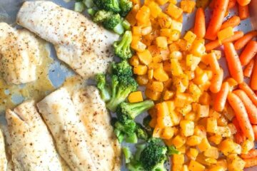 sheet pan haddock fish dinner
