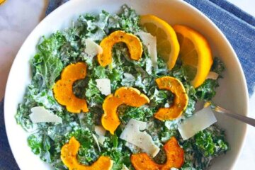 kale caesar salad with delicate squash