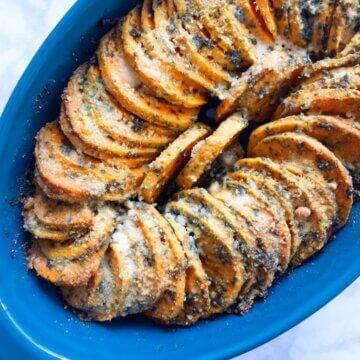 roasted pesto sweet potatoes
