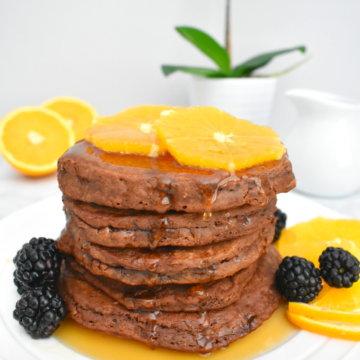 healthy chocolate orange pancakes