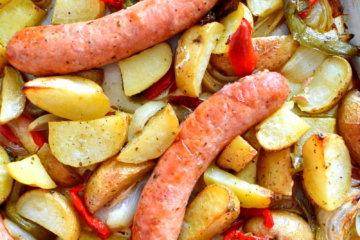 sausage sheet pan dinner potatoes one pan