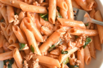easy penna pasta with ground turkey and creamy tomato sauce quick dinner easy dinner