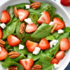 strawberry spinach salad with feta and pecans