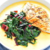 cheesy polenta with sauteed swiss chard and chicken