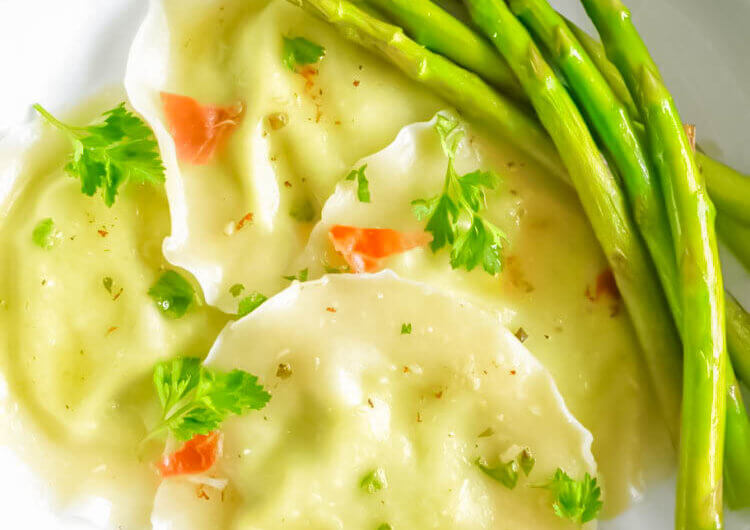 Asparagus Ricotta Ravioli with Herb Butter Sauce