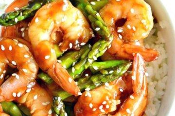 teriyaki shrimp and asparagus