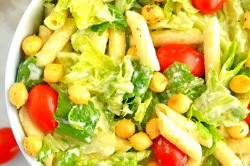 healthy caesar pasta salad