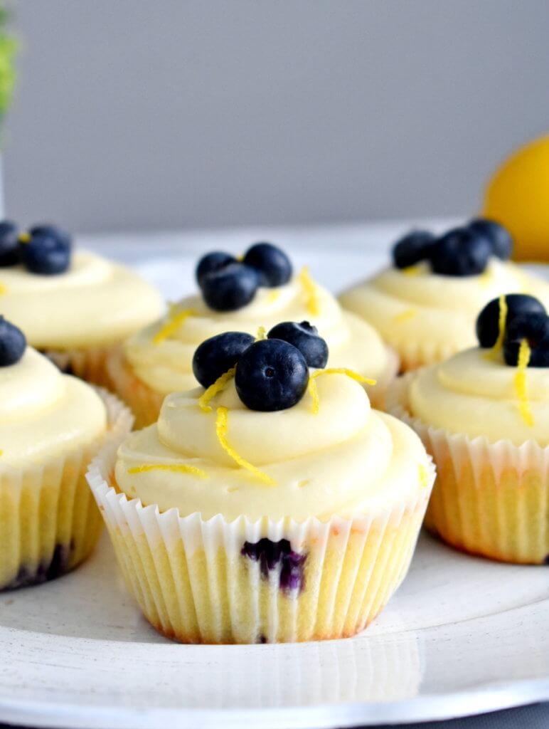 tray of lemon blueberry cupcakes