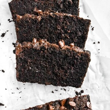 sliced chocolate zucchini bread on parchment paper