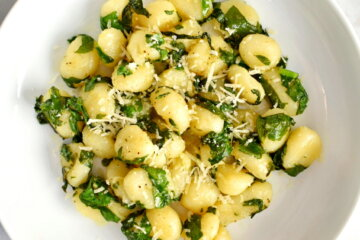 gnocchi with swiss chard and brown butter sauce