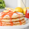 Lemon Ricotta Pancakes with Strawberry Syrup