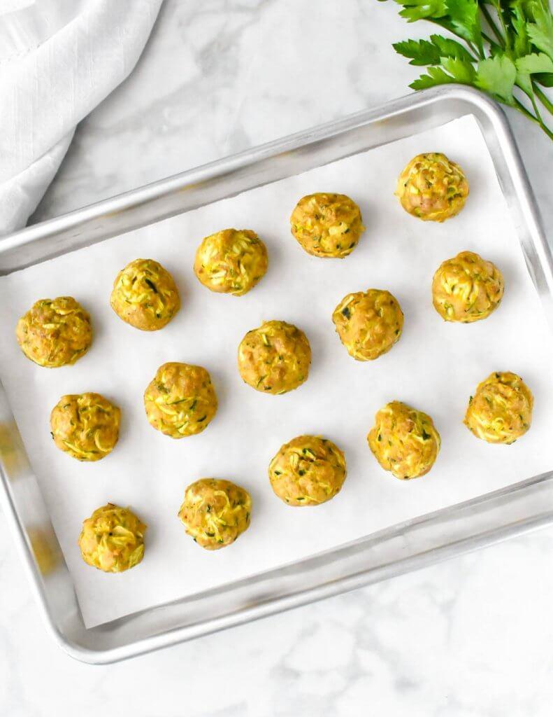 tray of chicken zucchini meatballs