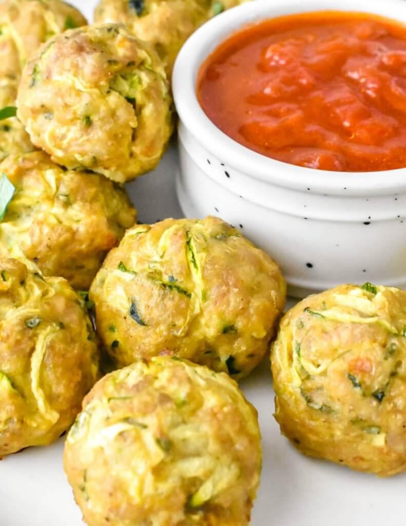 Chicken Zucchini Meatballs with marinara dip