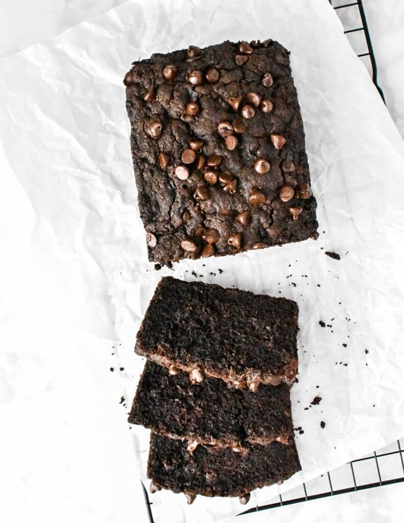 a sliced loaf of chocolate zucchini bread