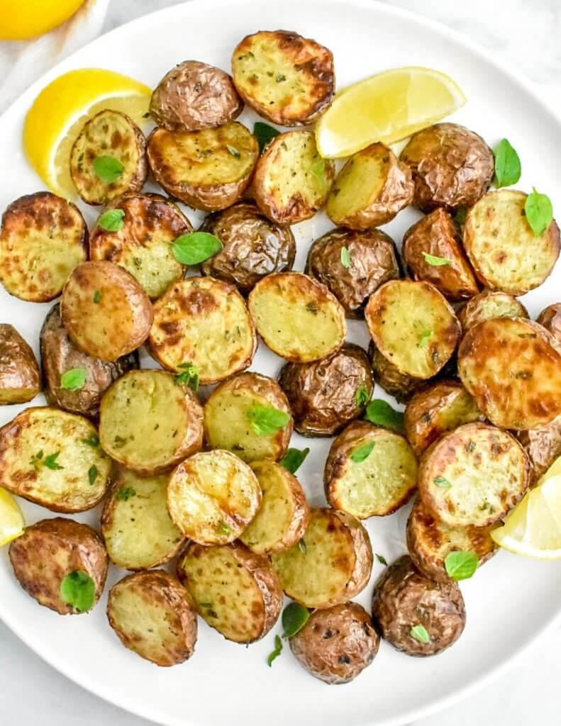 crispy air fryer potatoes on a platter