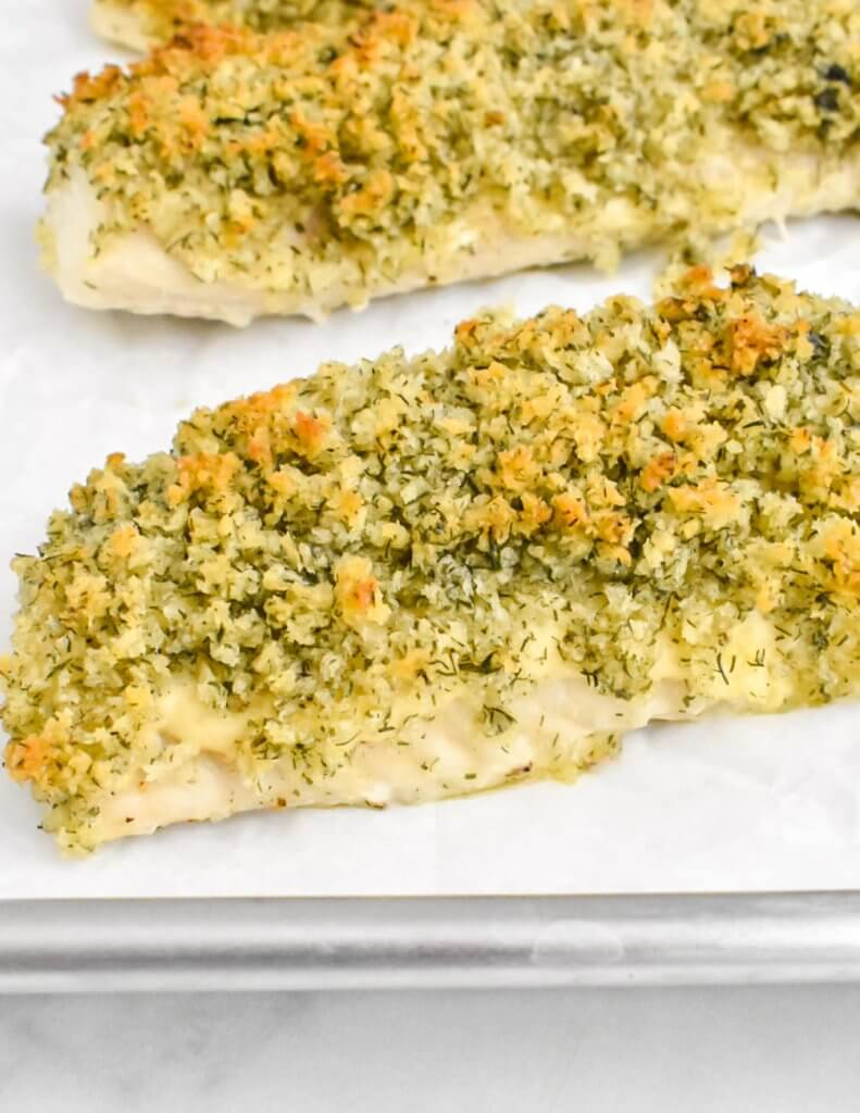 Panko crusted fish on a baking tray