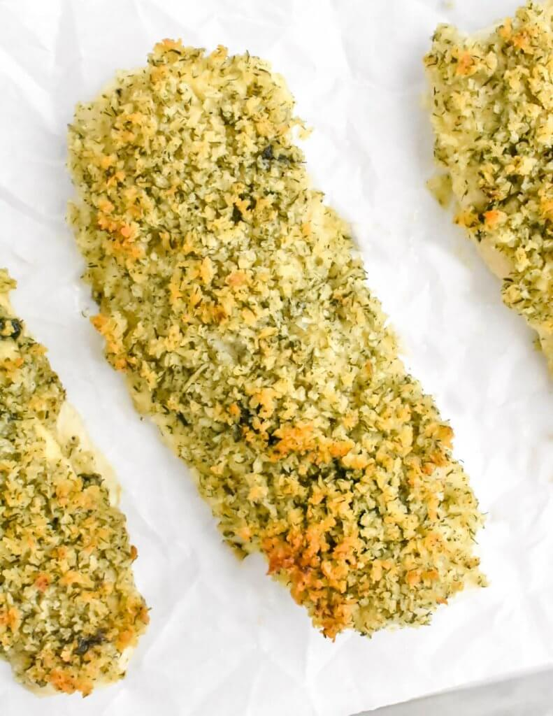 Panko crusted fish loins on a tray