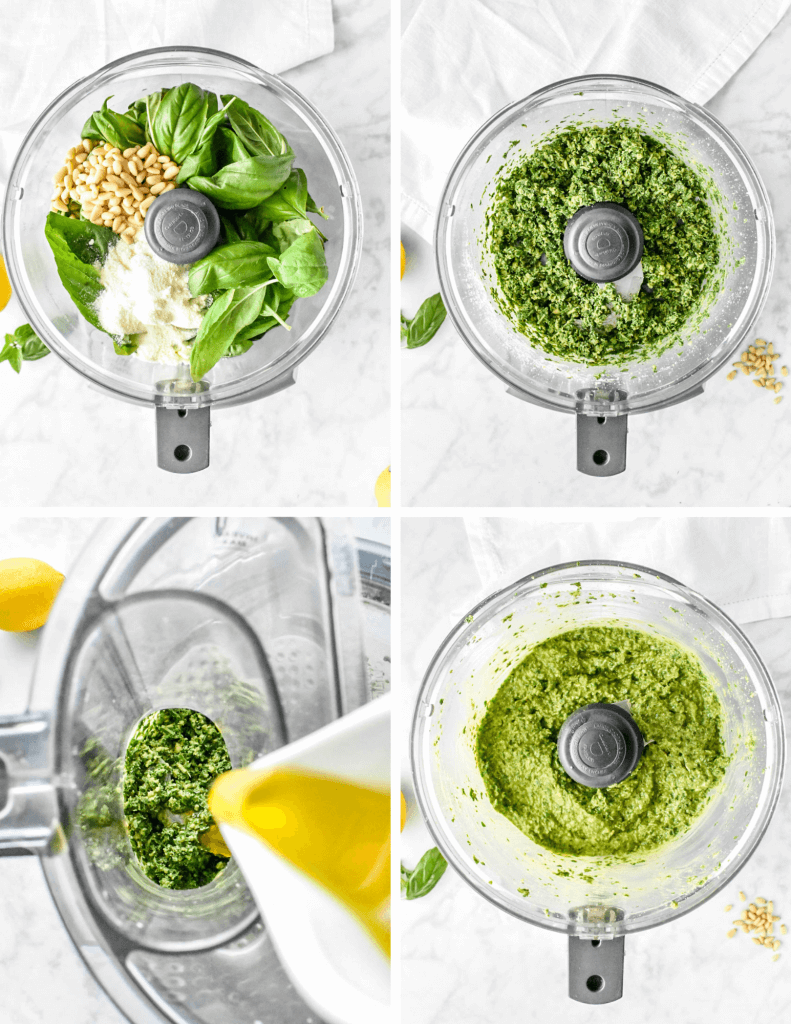 steps for making basil pesto in a food processor