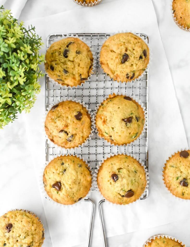 Top view of Chocolate Chip Zucchini Muffins