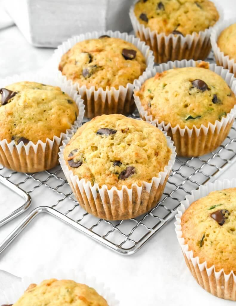Chocolate Chip Zucchini Muffins on a cooling rack