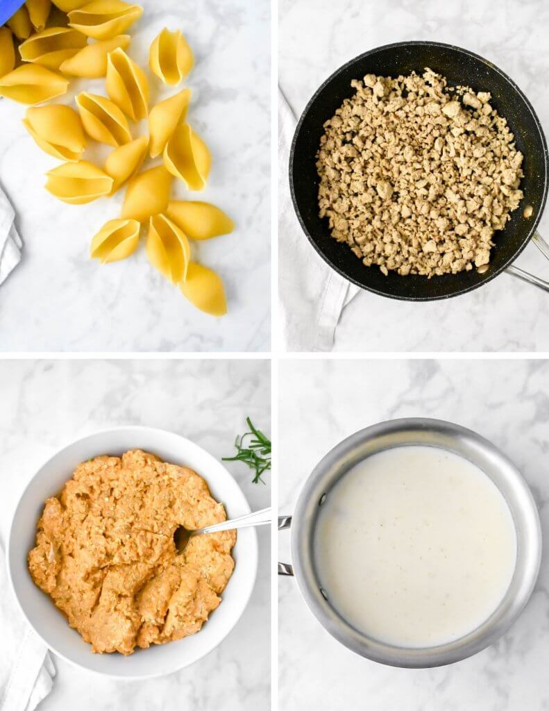 Steps to Prepare the Turkey and Pumpkin Stuffed Shells Components