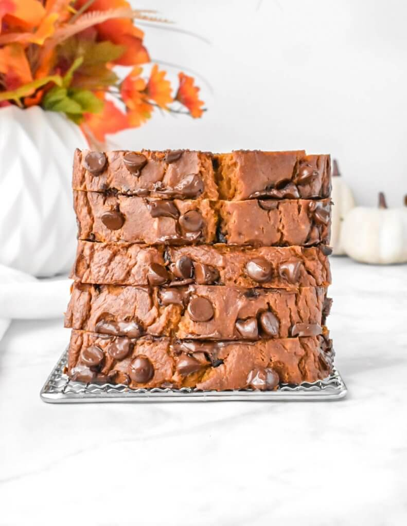 stacked slices of Pumpkin Chocolate Chip Bread