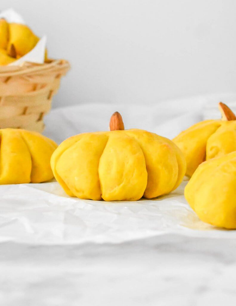 Pumpkin shaped dinner roll with an almond stem