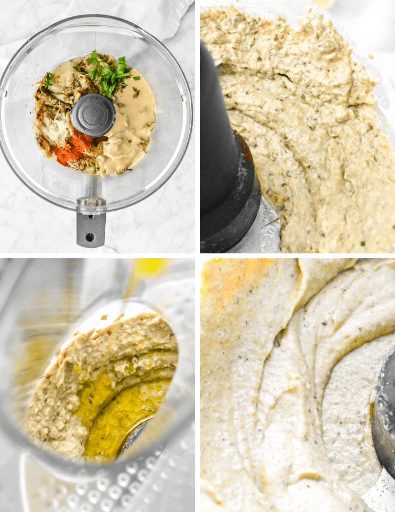 Steps for pureeing baba ganoush in a food processor