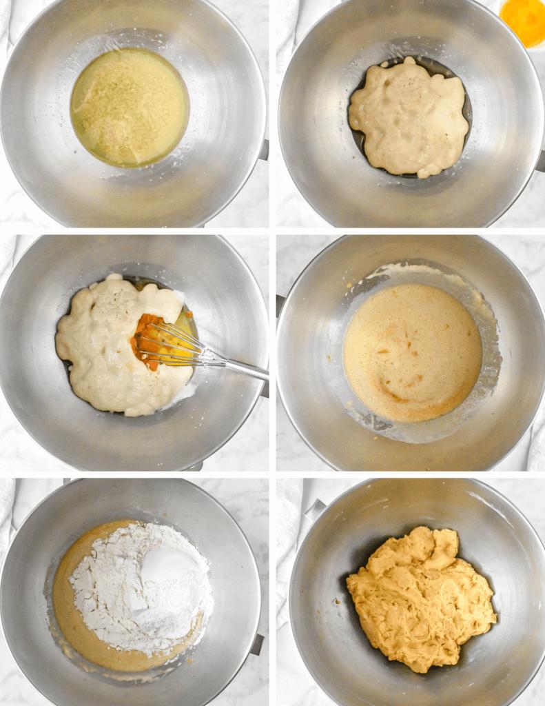 Steps for Making Pumpkin Dinner Roll Dough
