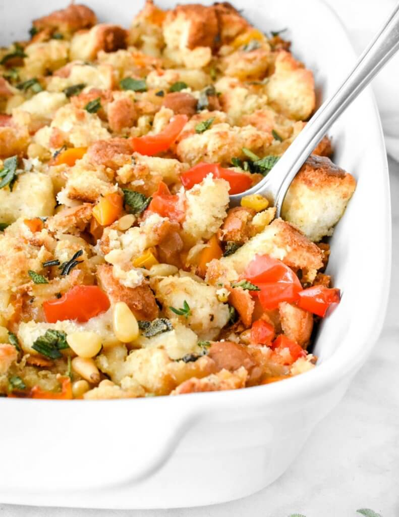 Classic bread stuffing with pine nuts, peppers and fresh herbs